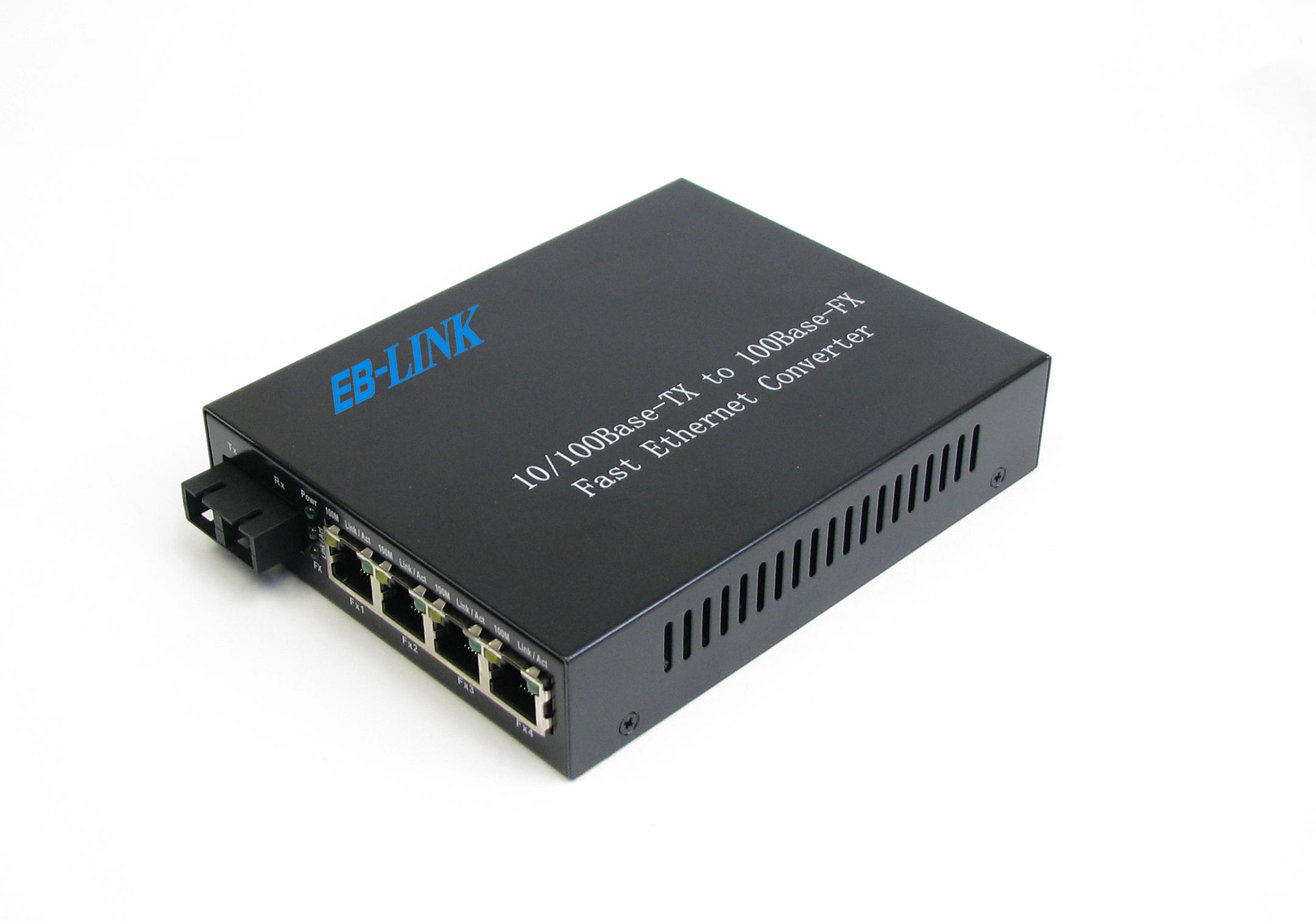 百兆单纤双向一光四电光纤收发器